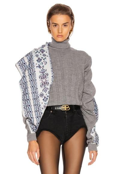 Scarf Panel Sweater