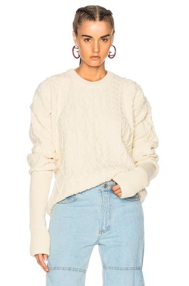 Asymmetrical Sleeve Crewneck Sweater