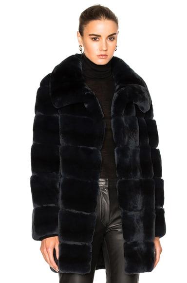 Long Rex Rabbit Fur Coat by Yves Salomon