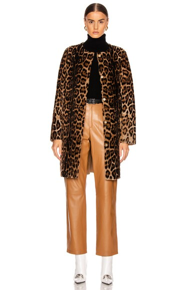 Printed Shearling Coat by Yves Salomon