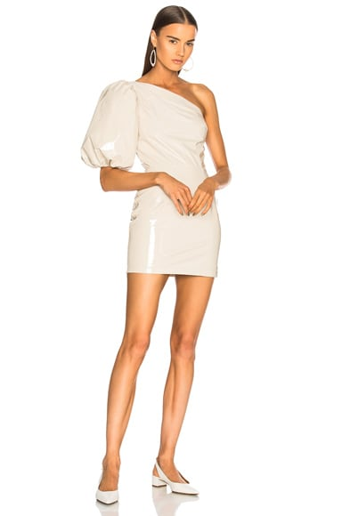 One Shoulder Patent Leather Dress