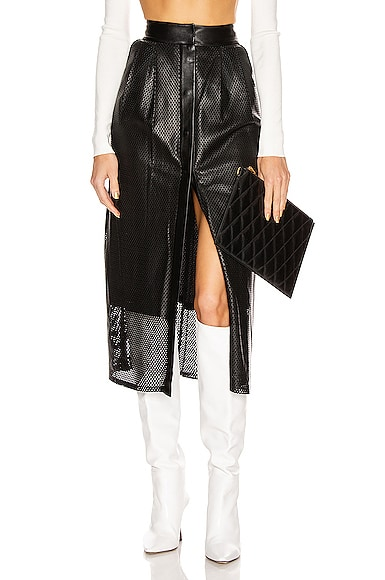 Perforated Leather Snap Skirt