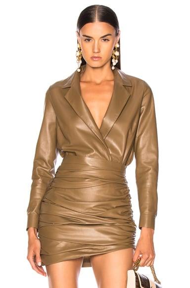 for FWRD Leather Shirt Bodysuit