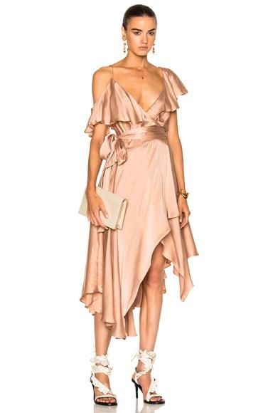 Sueded Asymmetric Wrap Dress