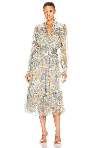 Super Eight Shirred Midi Dress