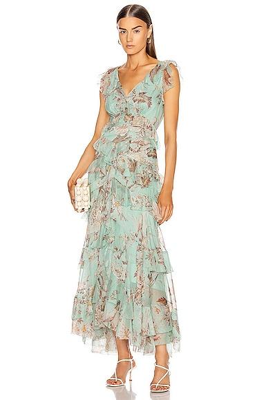 Glassy Frilled Midi Dress