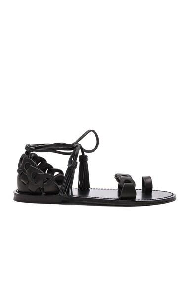 Leather Link Tie Sandals in Black