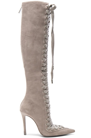 Lace Up Suede Long Boots