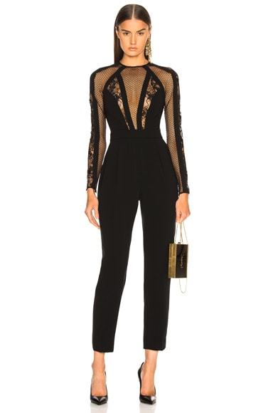 Mesh & Lace Paneled Jumpsuit