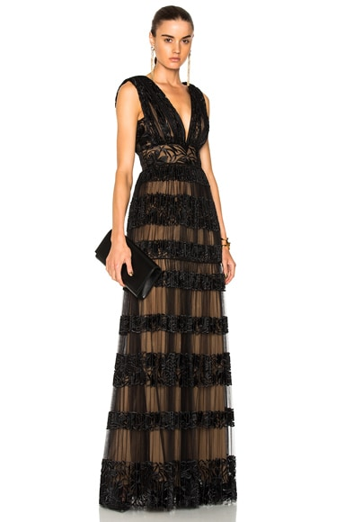 Long Embroidered Tulle Lace Border Gown