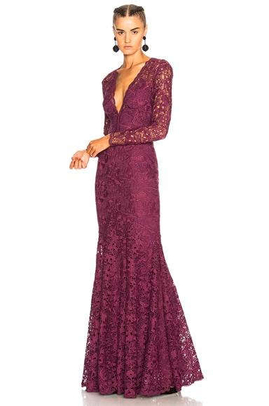 Long Plunging Neckline Guipure Lace Dress