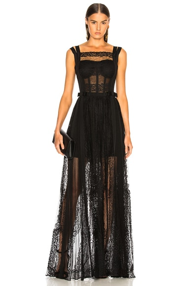 Paneled Lace Sleeveless Gown