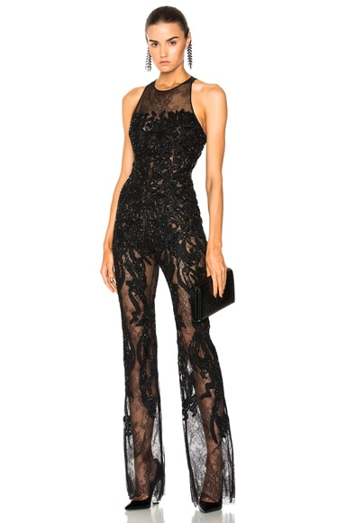 Embellished Lace Sleeveless Jumpsuit in Black