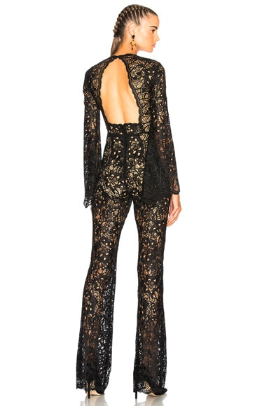 Flared Sleeve Guipure Lace Jumpsuit