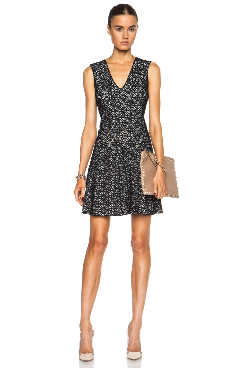 Image 1 Of Derek Lam 10 Crosby Sleeveless V Neck Cotton Blend Dress In Black