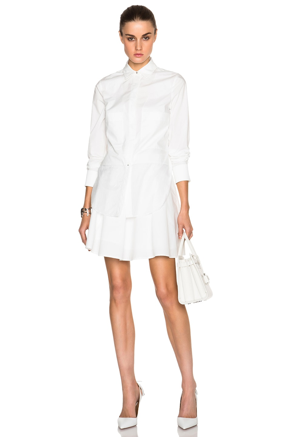 Image 1 Of Derek Lam 10 Crosby Long Sleeve Poplin Shirt Dress With Ruffle Skirt In