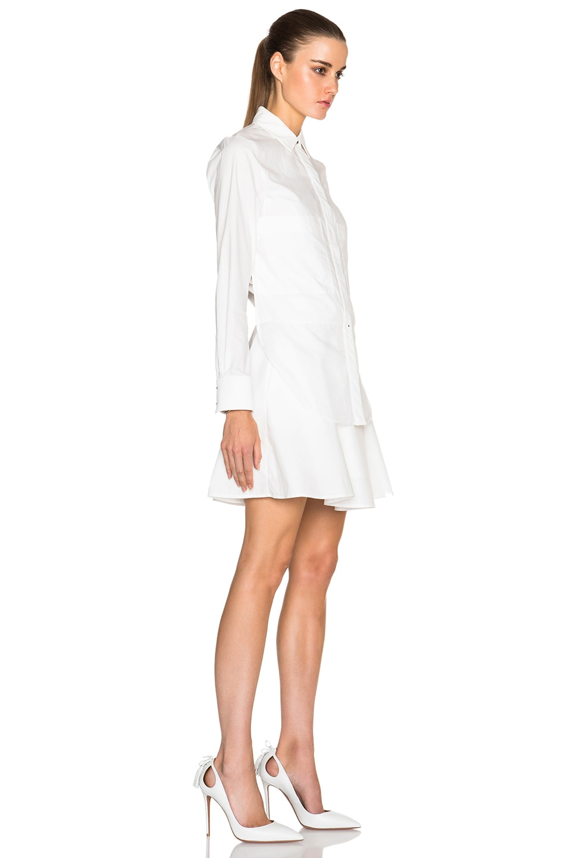 Derek Lam 10 Crosby Long Sleeve Poplin Shirt Dress With Ruffle Skirt