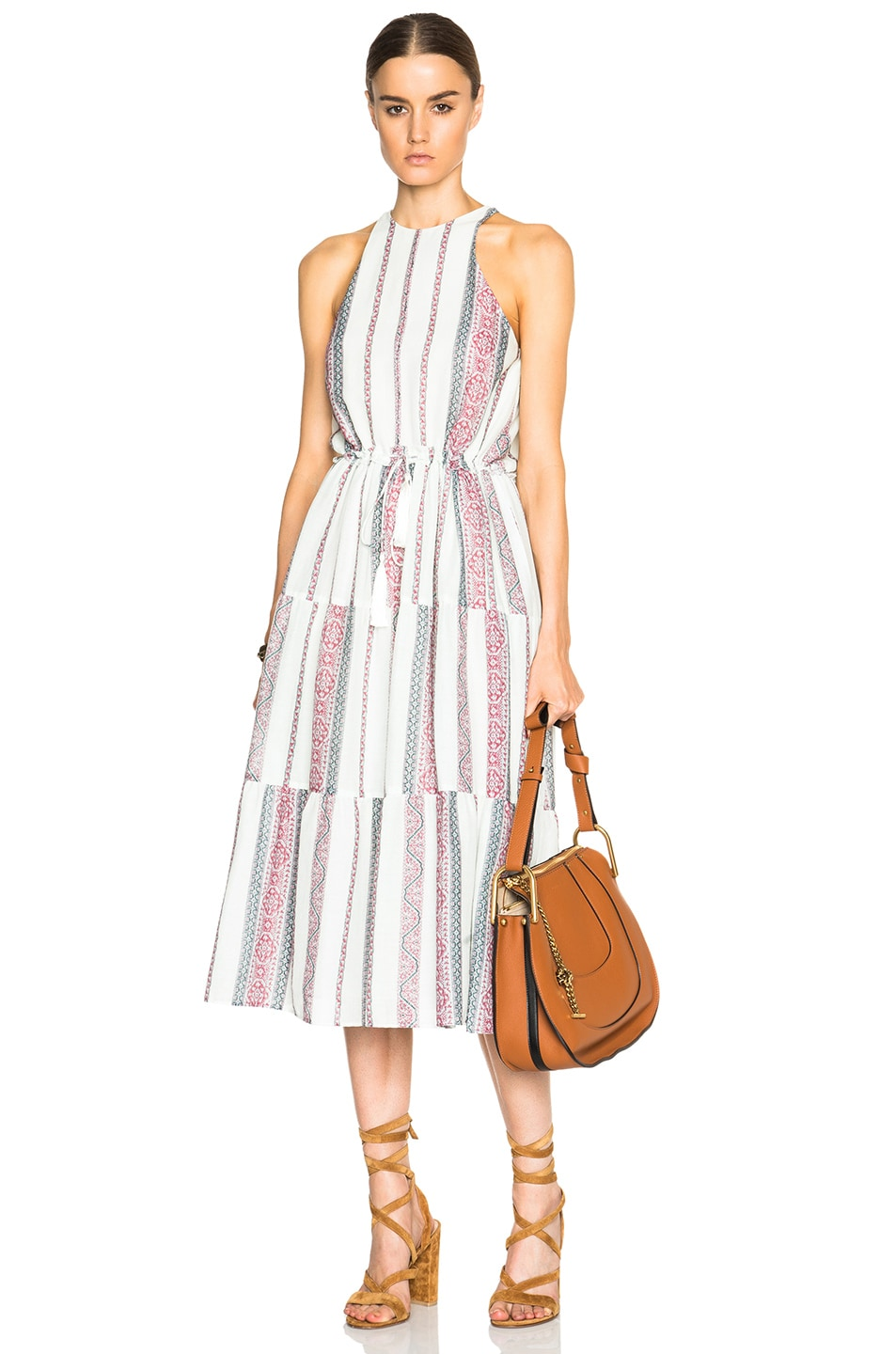 Image 1 Of Derek Lam 10 Crosby Tapestry Gauze Dress In Ivory Multi