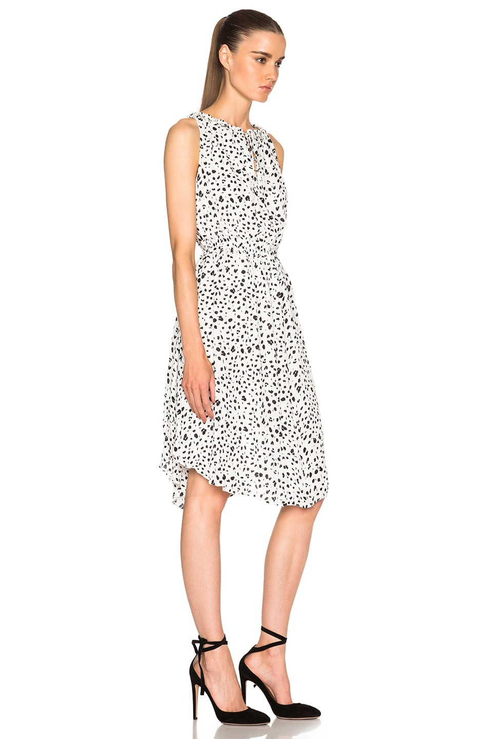 Image 3 of DEREK LAM 10 CROSBY Gathered Dress in White & Black