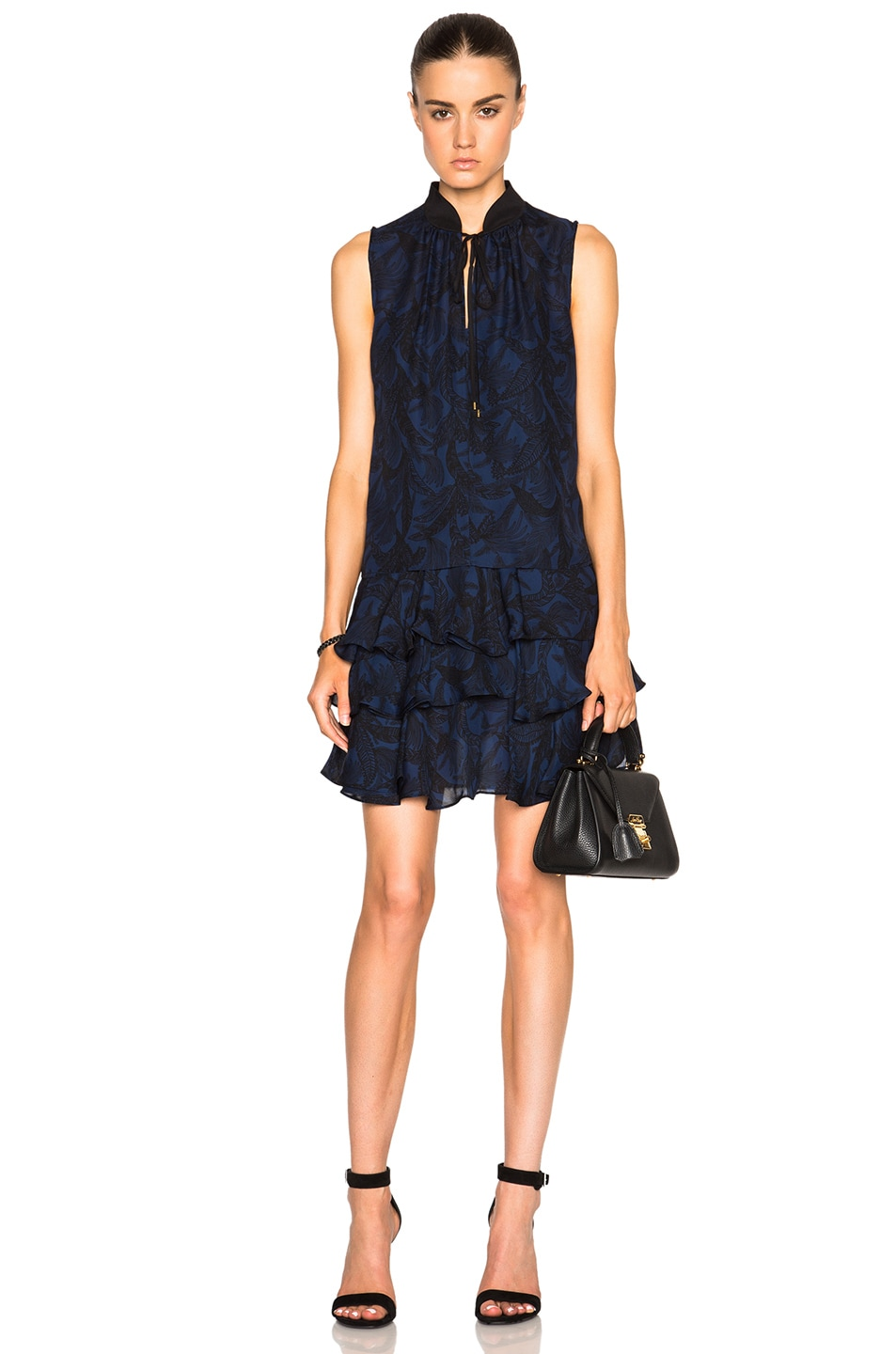 Image 1 Of Derek Lam 10 Crosby Cold Shoulder Ruffle Dress In Indigo Multi