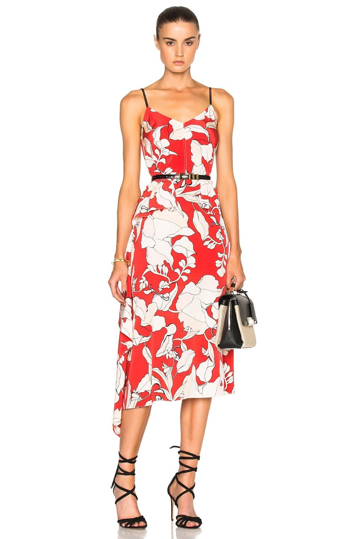 Image 1 Of Derek Lam 10 Crosby Sleeveless Peplum Dress In Flamenco Multi