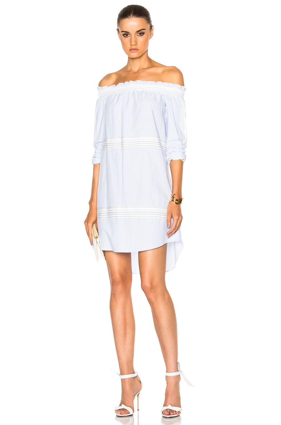 Image 1 of DEREK LAM 10 CROSBY Off The Shoulder Bell Sleeve Dress in Oxford Multi