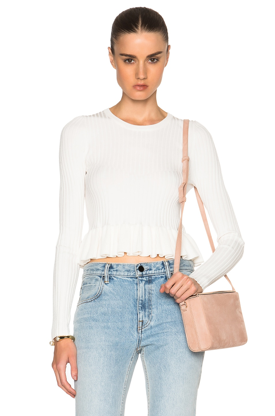 DEREK LAM 10 CROSBY Ruffle Hem Sweater in Soft White | FWRD