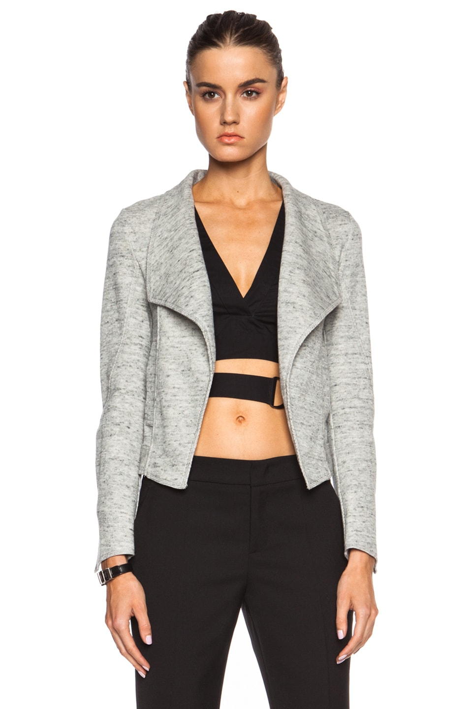 Image 1 of DEREK LAM 10 CROSBY Angled Lapel Cotton Jacket in Grey