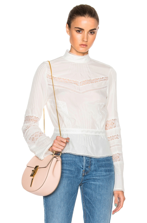 Image 1 of DEREK LAM 10 CROSBY High Collar Top in Soft White