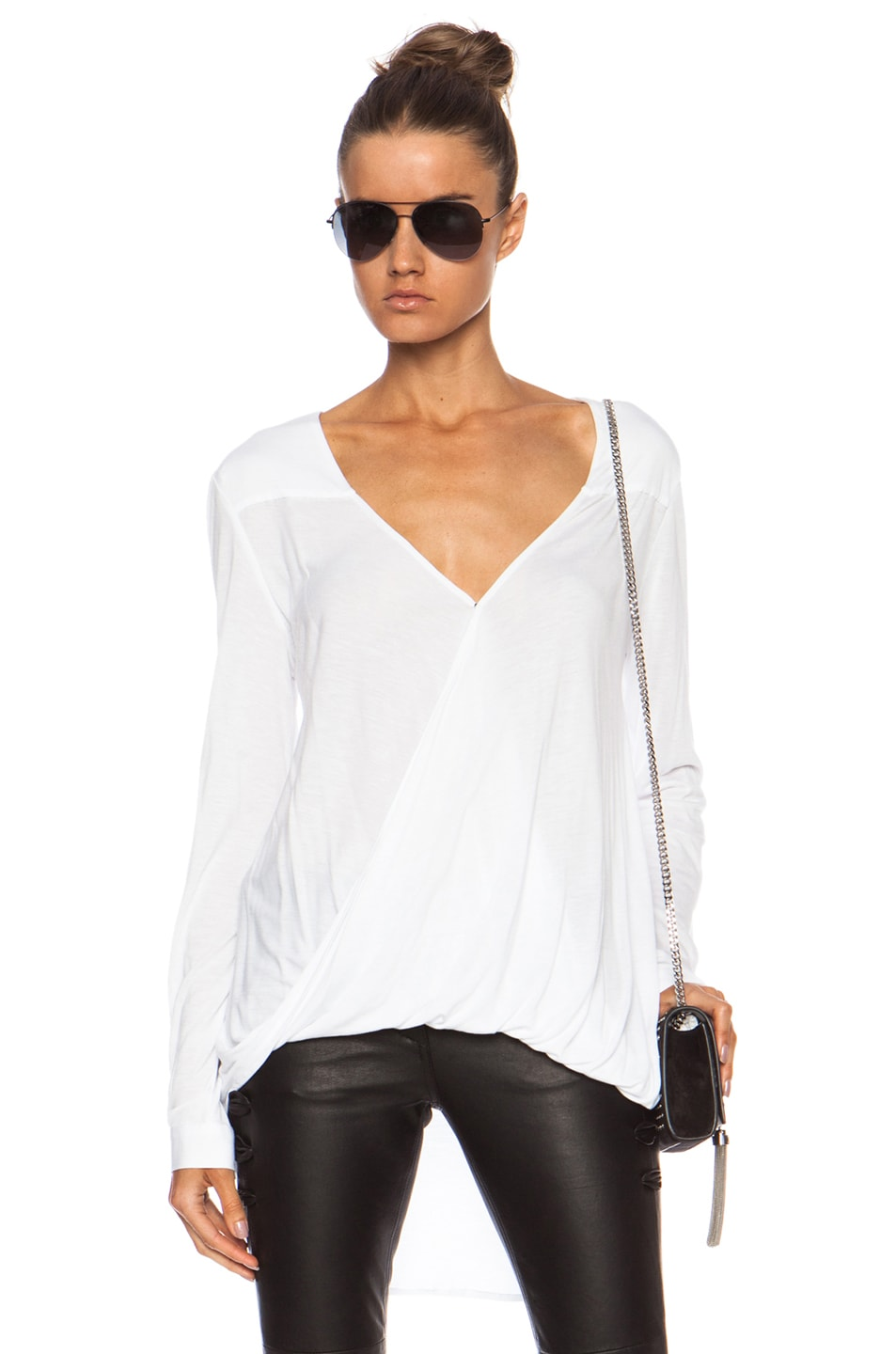 Image 1 of DEREK LAM 10 CROSBY Wrap Front Viscose Blouse in Soft White