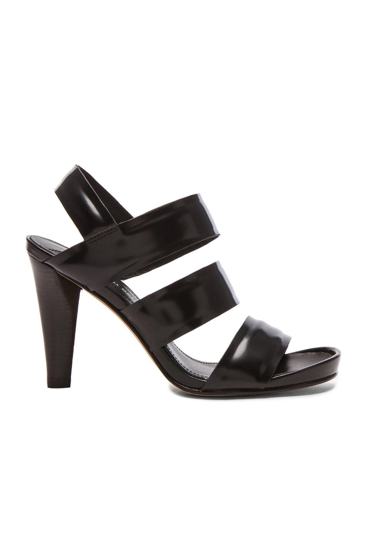 Image 1 of DEREK LAM 10 CROSBY Fennel Calfskin Leather Sandals in Black