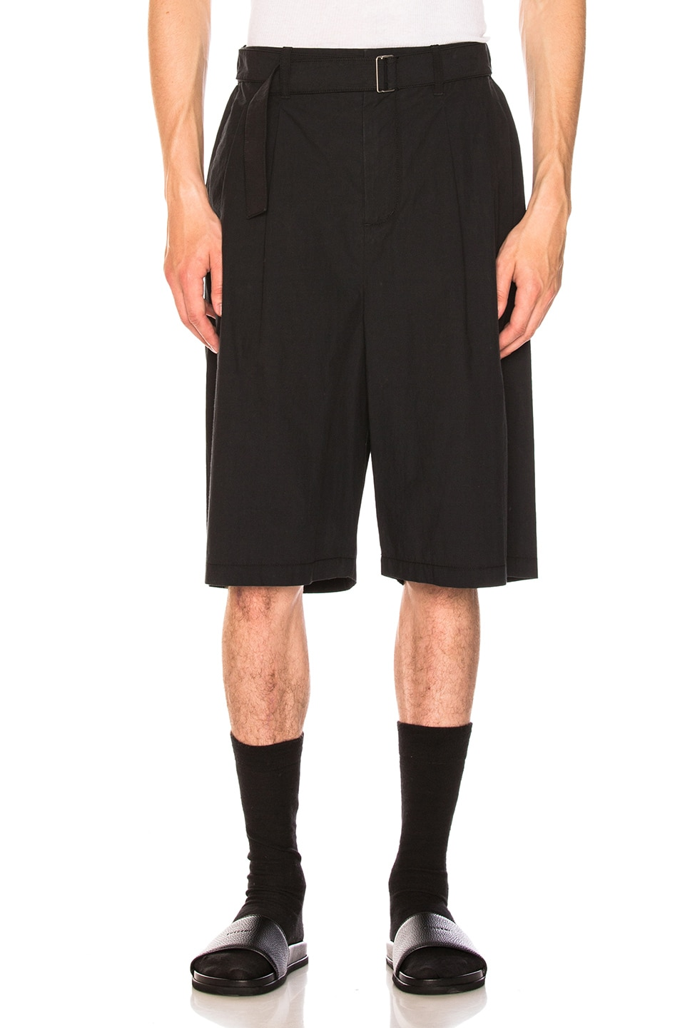 3.1 Phillip Lim  3.1 PHILLIP LIM RELAXED PLEATED SHORTS WITH BELT IN BLUE