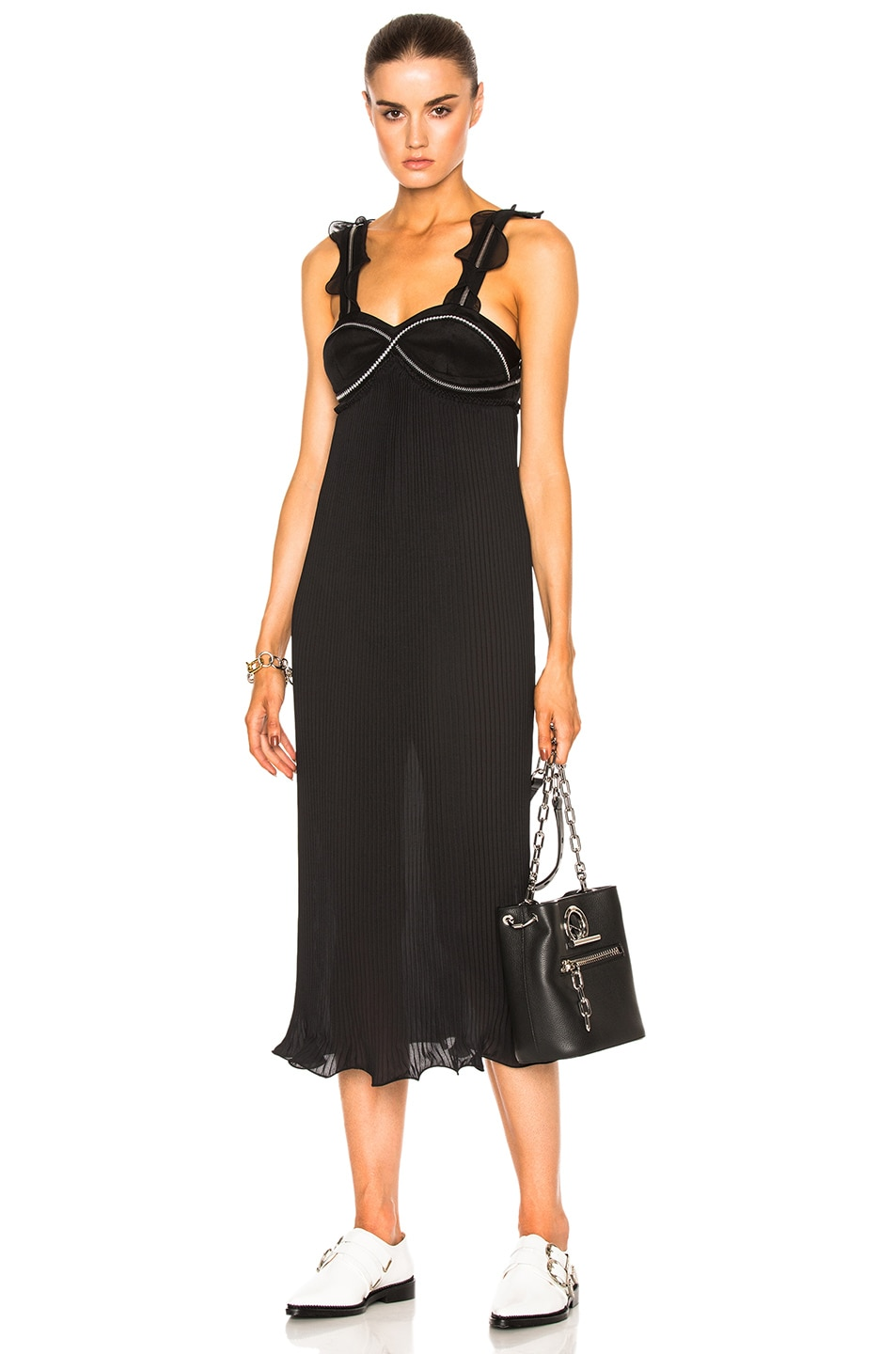 Image 1 of 3.1 phillip lim Sleeveless Pleated Ruffle Dress in Black