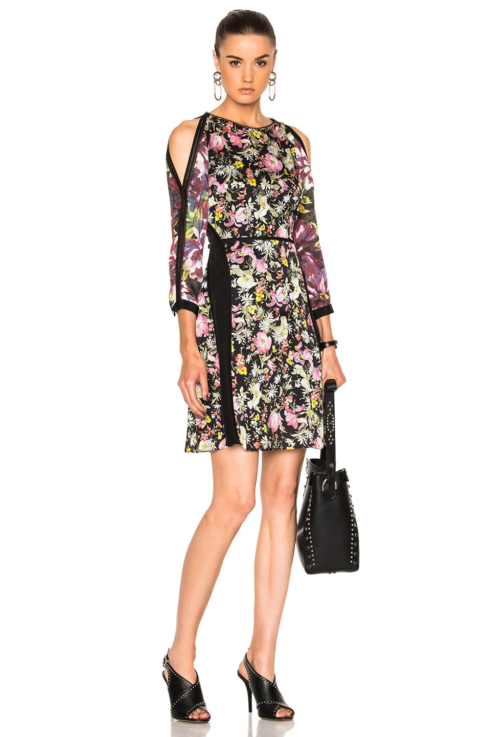 Image 1 Of 3 Phillip Lim Meadow Flower Cold Shoulder Dress In Black Multi