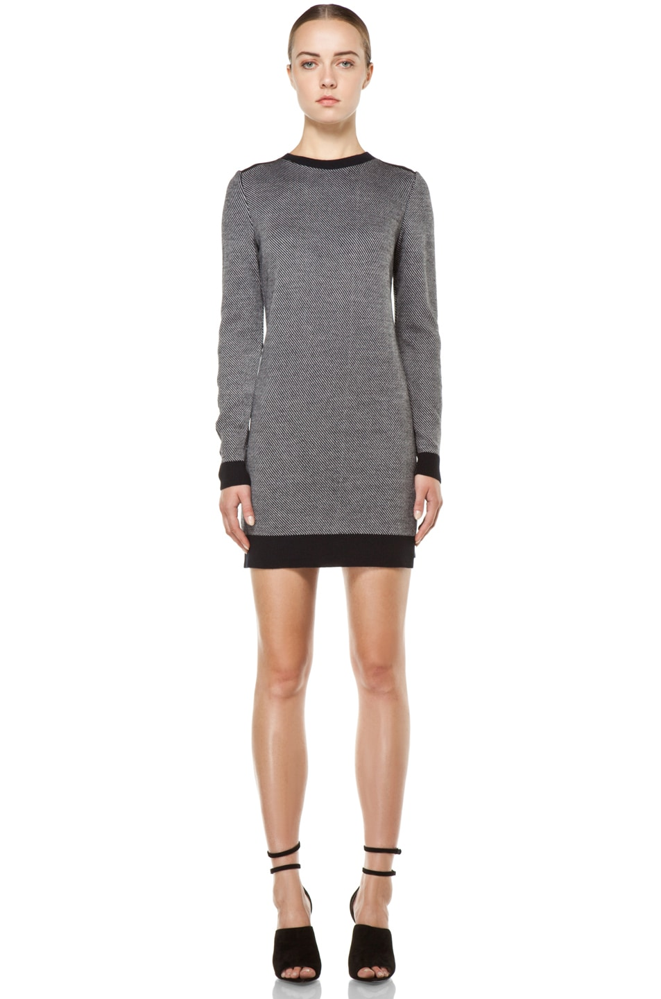 Image 1 of 3.1 phillip lim Tweed Stitch Dress with Ribbed Back in Midnight