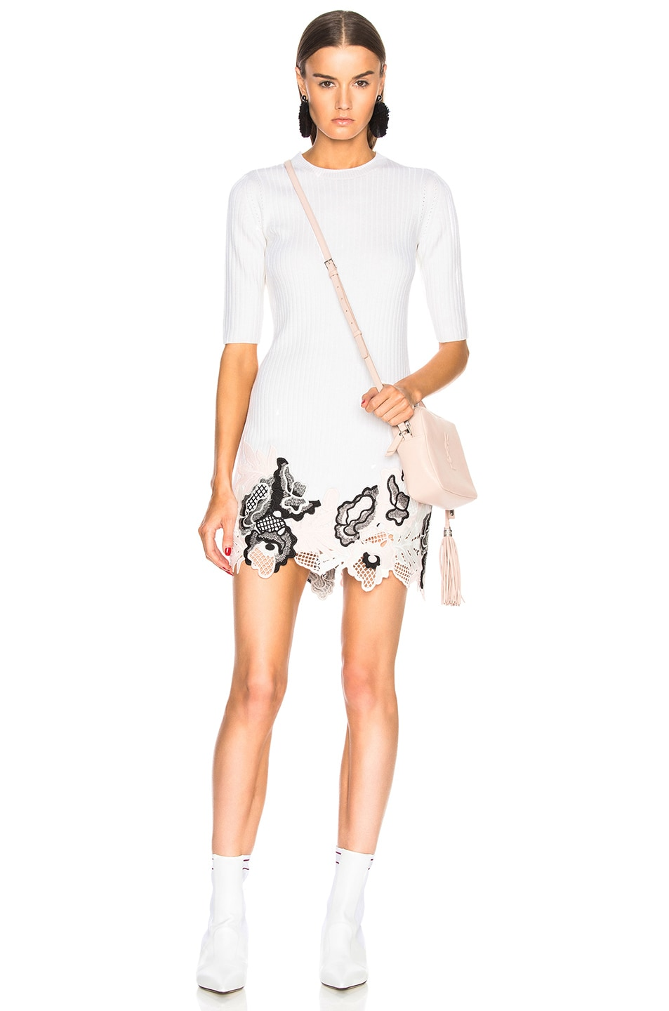 Image 1 of 3.1 phillip lim Embroidered Lace Ribbed Dress in Antique White