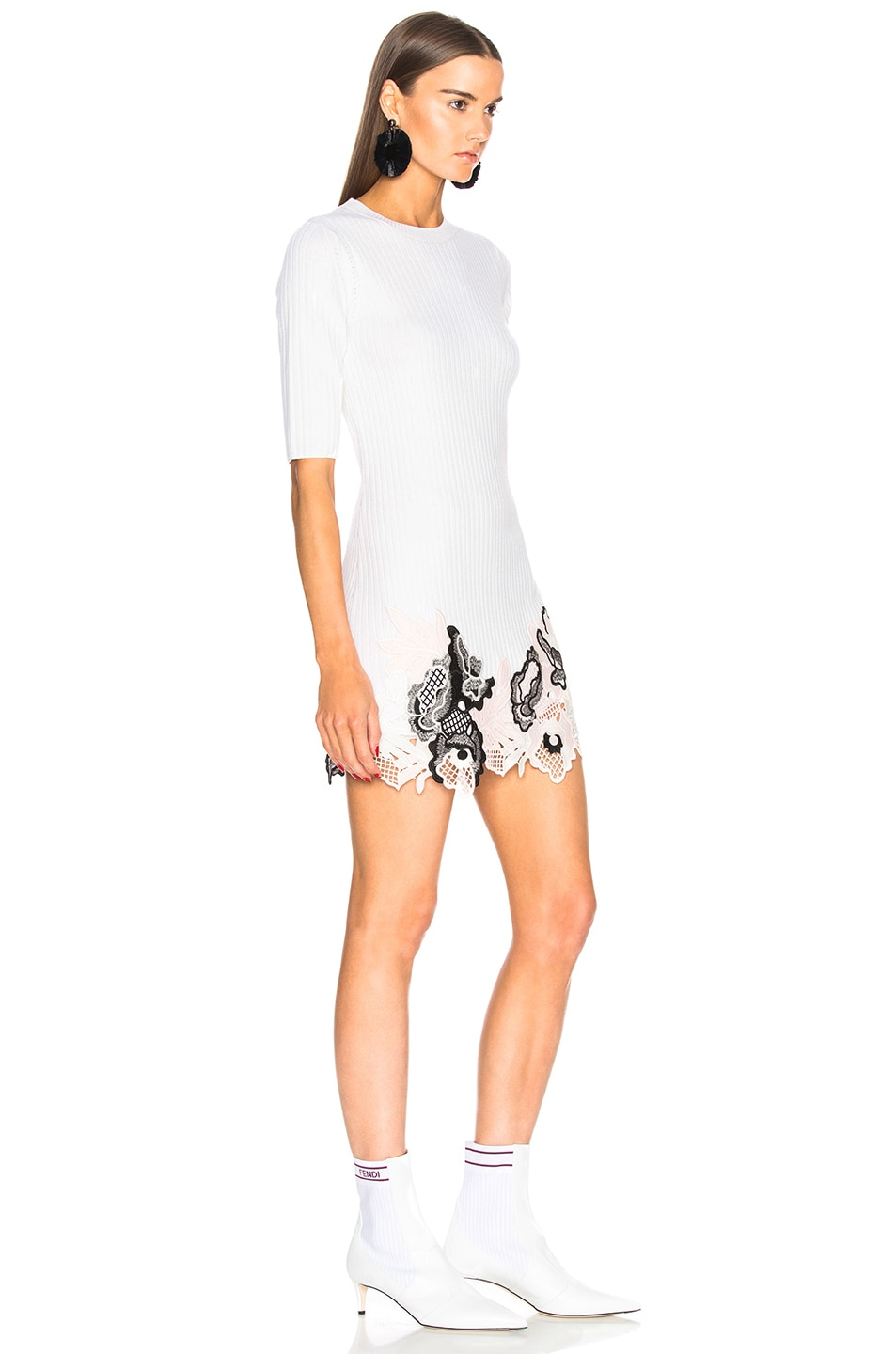 Image 2 of 3.1 phillip lim Embroidered Lace Ribbed Dress in Antique White