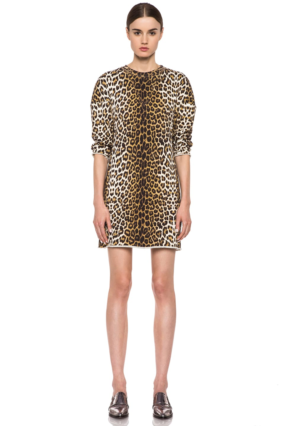 Image 1 of 3.1 phillip lim Rounded Shoulders Sculpted Cotton Dress in Leopard