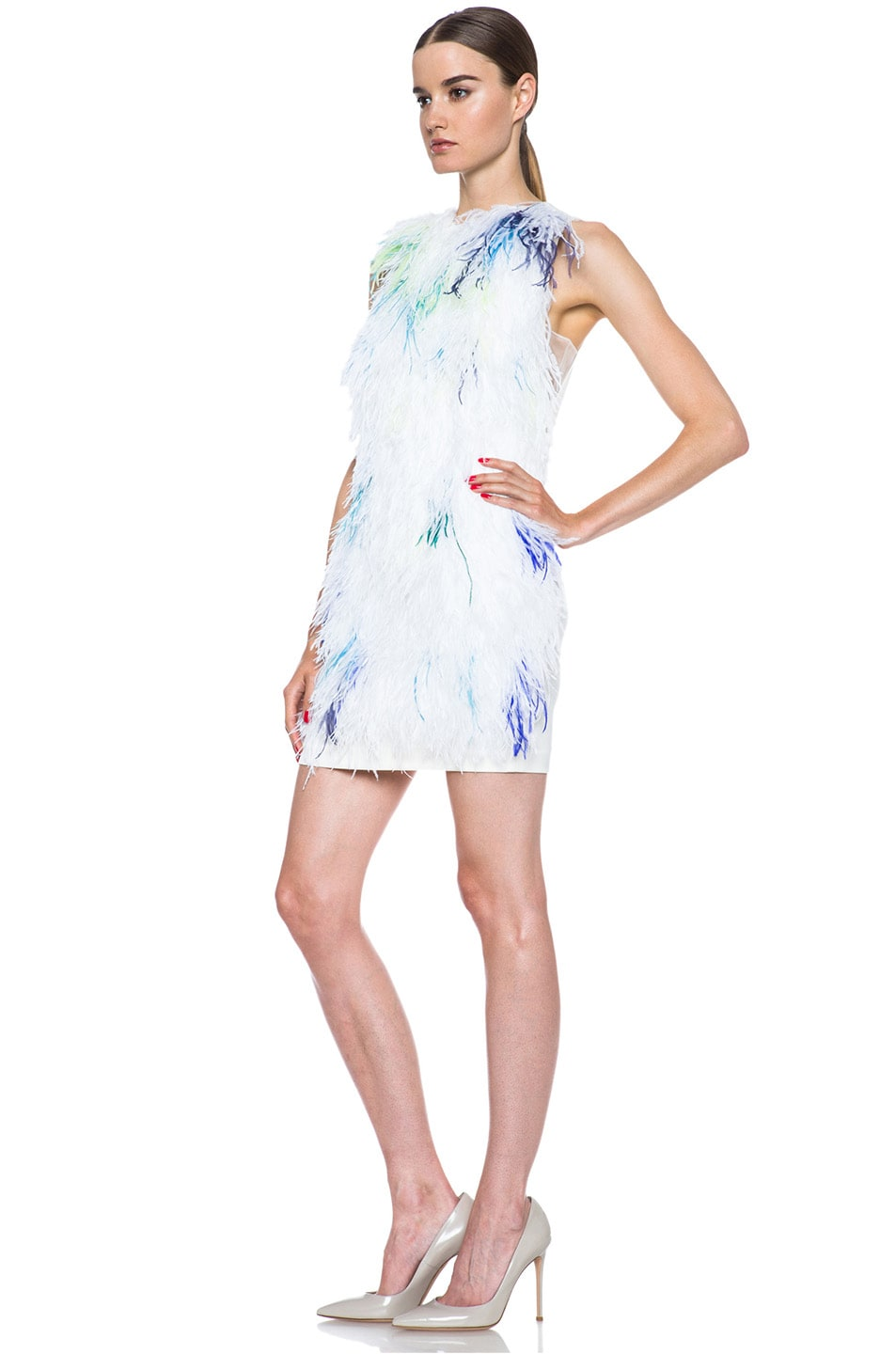 Image 2 of 3.1 phillip lim Plume Acetate-Blend Shift Dress in Ivory