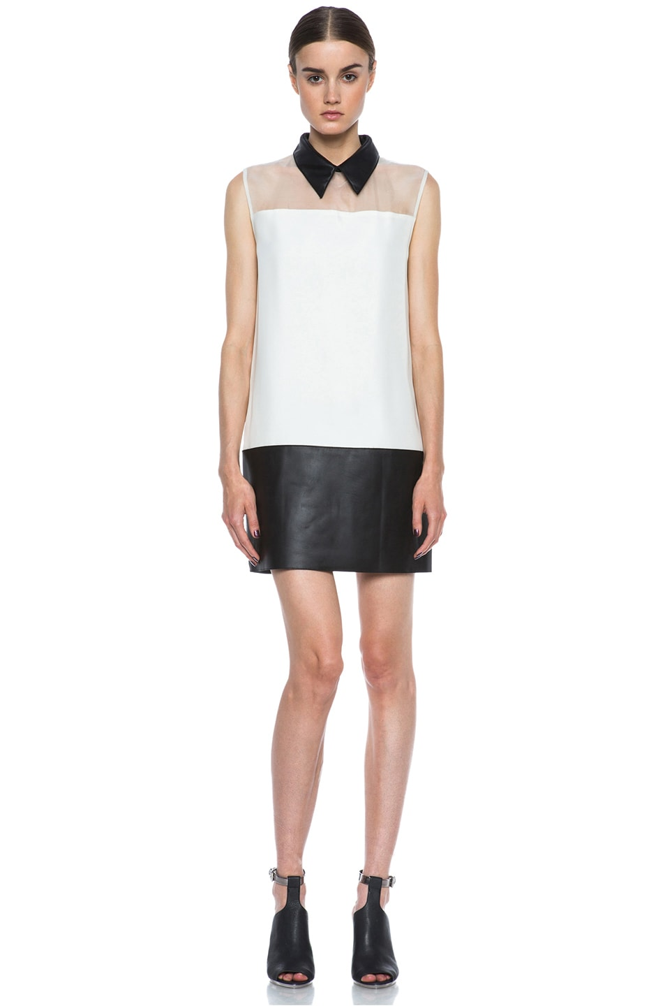 Image 1 of 3.1 phillip lim Tuxedo Viscose Shift Dress in Alabaster & Black