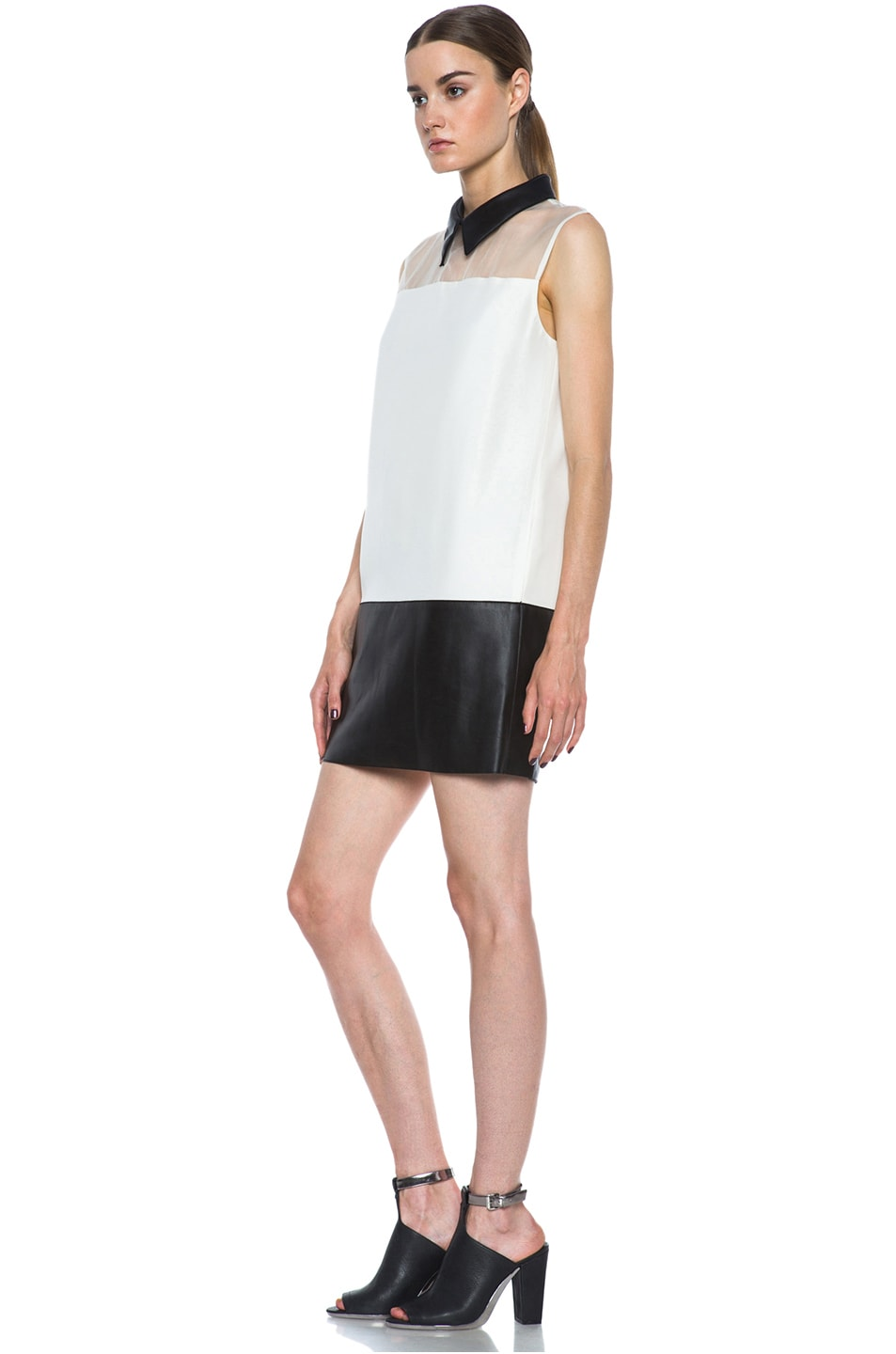 Image 2 of 3.1 phillip lim Tuxedo Viscose Shift Dress in Alabaster & Black