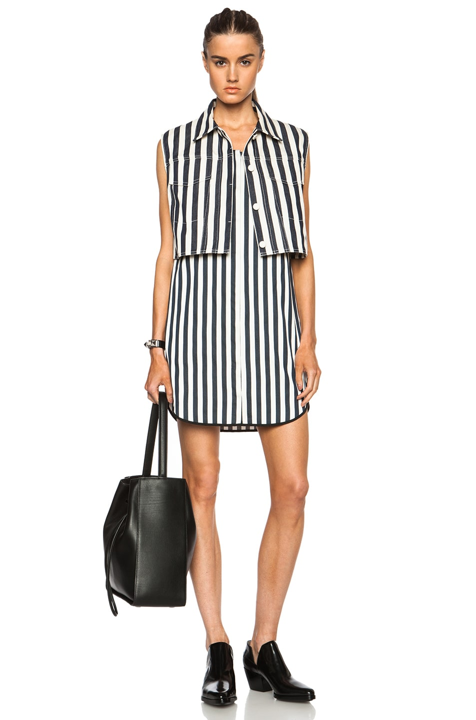 Image 1 of 3.1 phillip lim 2 Piece Dress with Striped Shirting Under Layer in Ivory & Navy