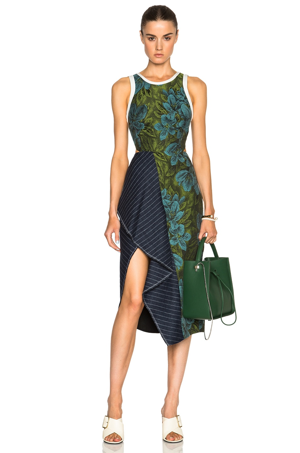 Image 1 Of 3 Phillip Lim Cascading Skirt Ruffle Dress In Leaf Hydro