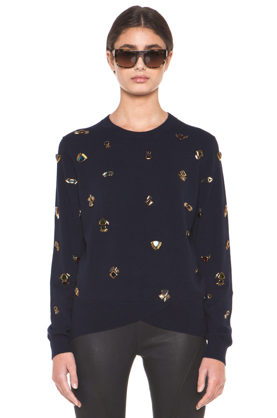 Image 1 of 3.1 phillip lim All Eyes On You Pullover Embroidered Sweater in Navy