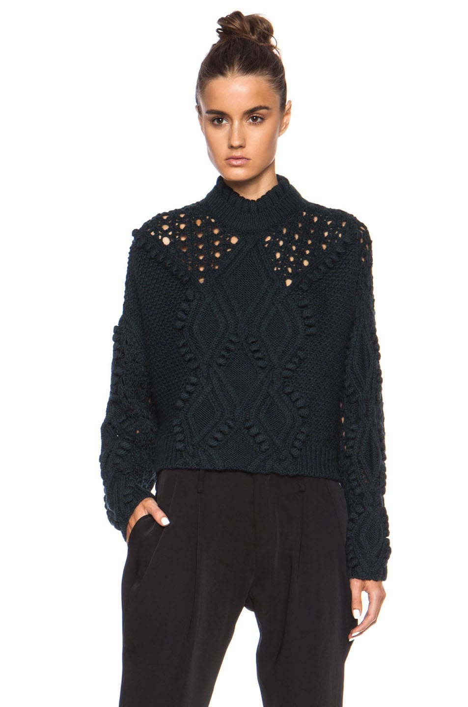 Image 1 of 3.1 phillip lim Cable and Popcorn Cropped Wool Pullover in Forest Melange
