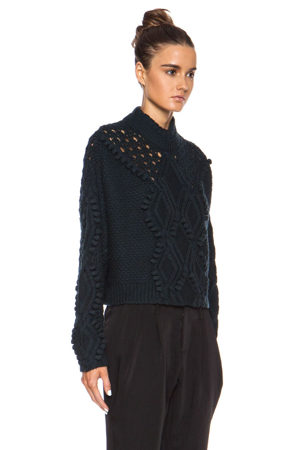 Image 3 of 3.1 phillip lim Cable and Popcorn Cropped Wool Pullover in Forest Melange