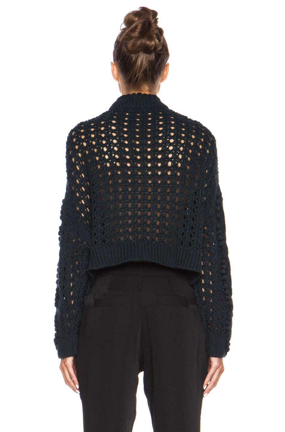 Image 4 of 3.1 phillip lim Cable and Popcorn Cropped Wool Pullover in Forest Melange