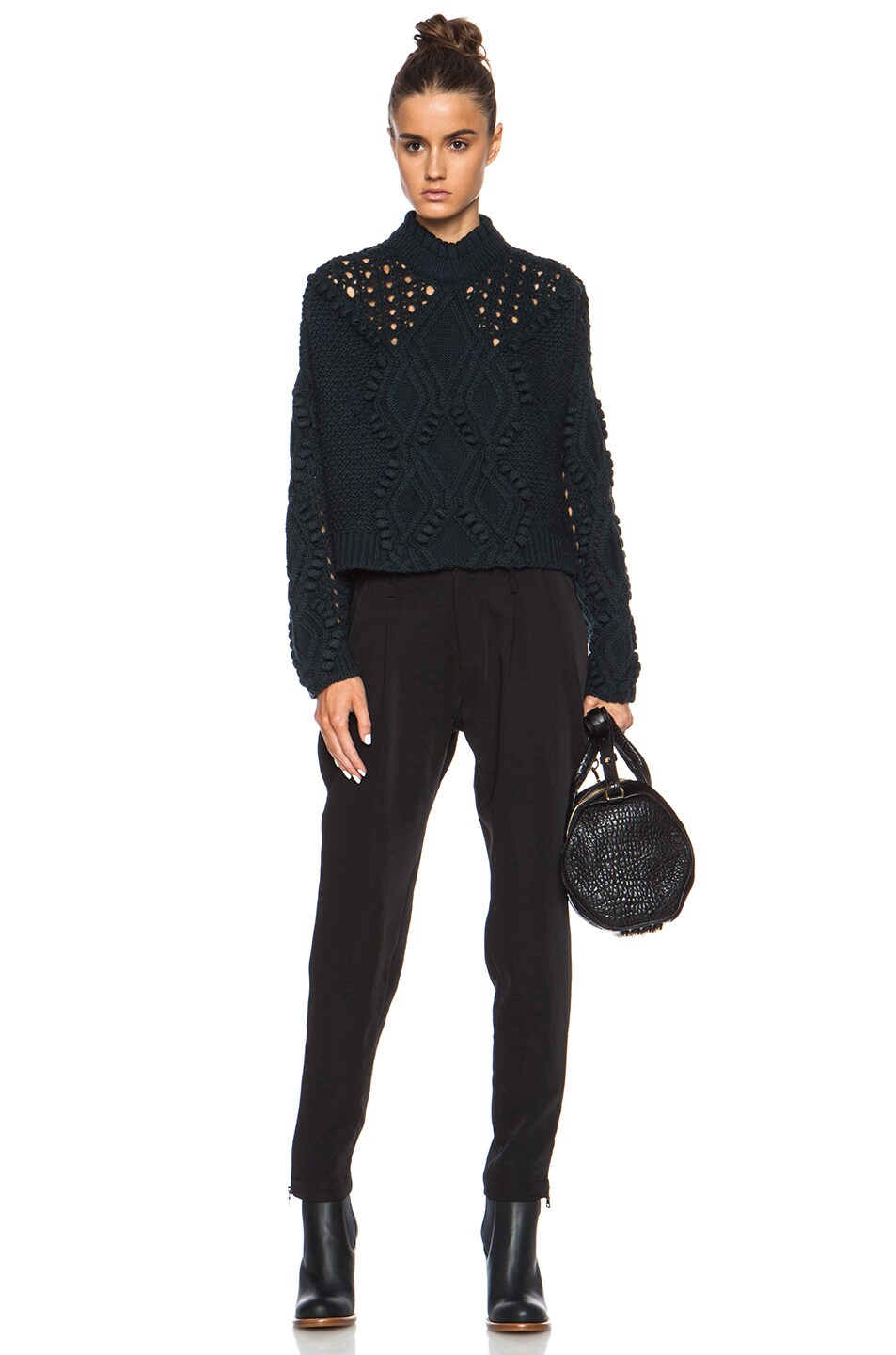 Image 5 of 3.1 phillip lim Cable and Popcorn Cropped Wool Pullover in Forest Melange
