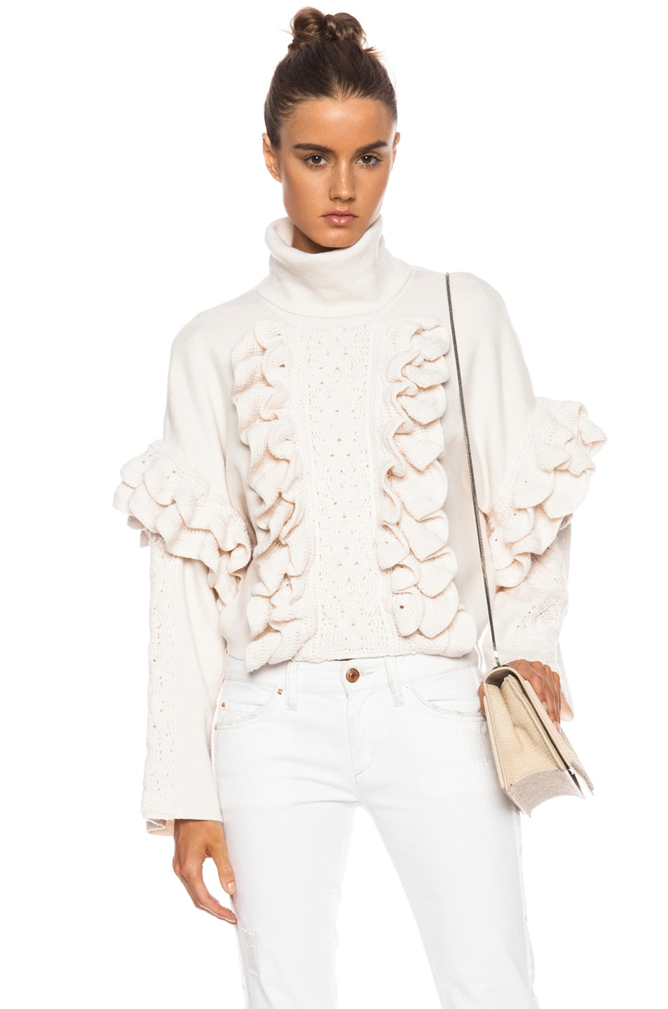 Image 1 of 3.1 phillip lim Cable and Ruffle Crochet Wool Turtleneck in Ivory