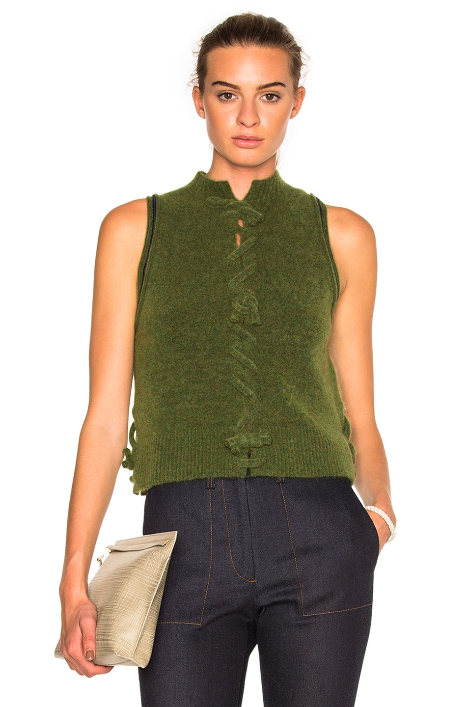 Image 1 of 3.1 phillip lim Knot Front Sleeveless Top in Green
